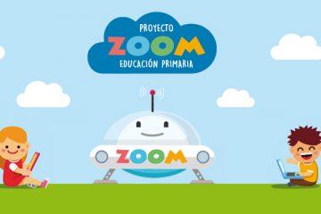 Logo de zoom primaria con la nave y dibujos de niños