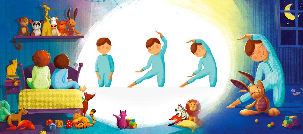 Buenas noches juguemos a hacer yoga para ir a dormir - Relajacion para dormir bien ...