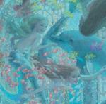 detalle del fondo del mar con dos sirenas en libros ilustrados