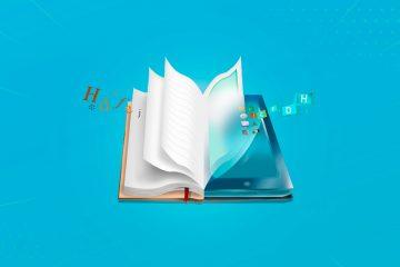 imagen de un libro mitad texto mitad digital como ejemplo de alfabetización múltiple
