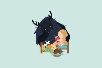 Niña leyendo en la cama junto a un amable monstruo que la rodea con el brazo para ilustrar la posibilidad de aprender con los monstruos