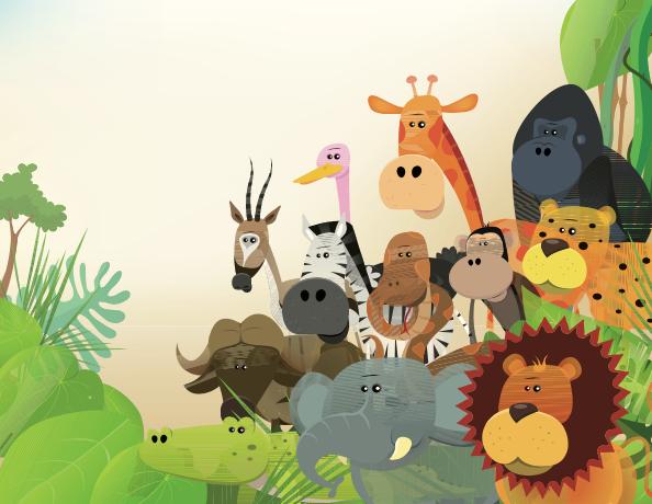 grupo de animales en la selva para el Dia Mundial de los animales