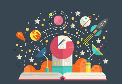 Motivos que refieren a la fascinación por el espacio saliendo de un libro