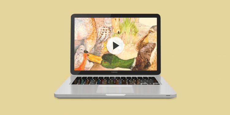 ordenador con una imagen en la pantalla de un videocuento para ventajas educativas de los Videocuentos