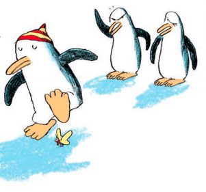 Ilustración del libro En el Arca a las ocho con un pingüino a punto de matar una mariposa mientras los otros dos observan