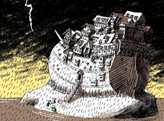 Ilustración del Arca de Noé en el libro En el Arca a las ocho