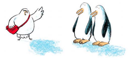 Ilustración del libro En el Arca a las ocho con dos pingüinos escuchando la paloma que anuncia el diluvio universal