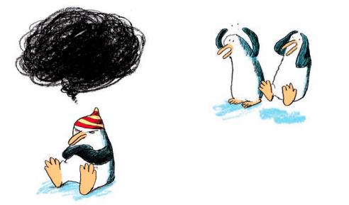 Ilustración del libro En el Arca a las ocho con los tres pingüinos discutiendo