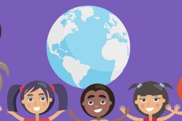 Dibujo de niños cogidos de la mano alrededor del planeta para celebrar el Día Universal del Niño