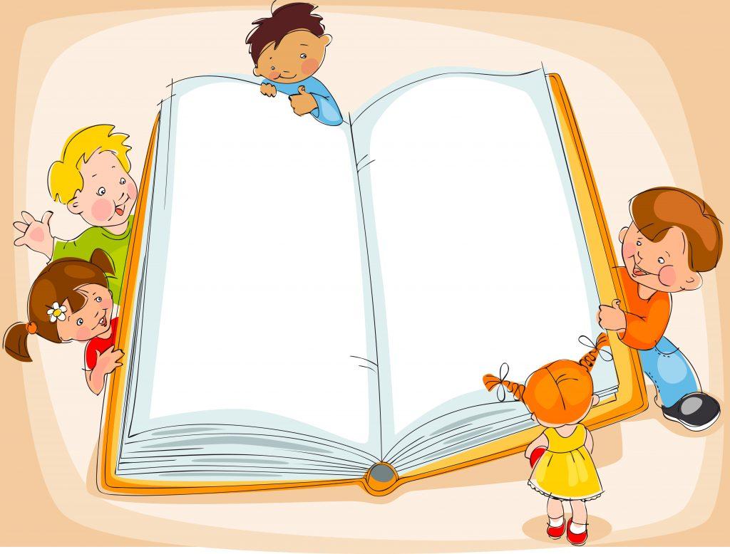 Niños leyendo un gran libro en blanco para celebrar el Día Universal del Niño