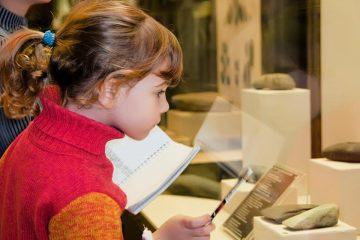Niña observando exposición para ilustrar visita al museo con niños