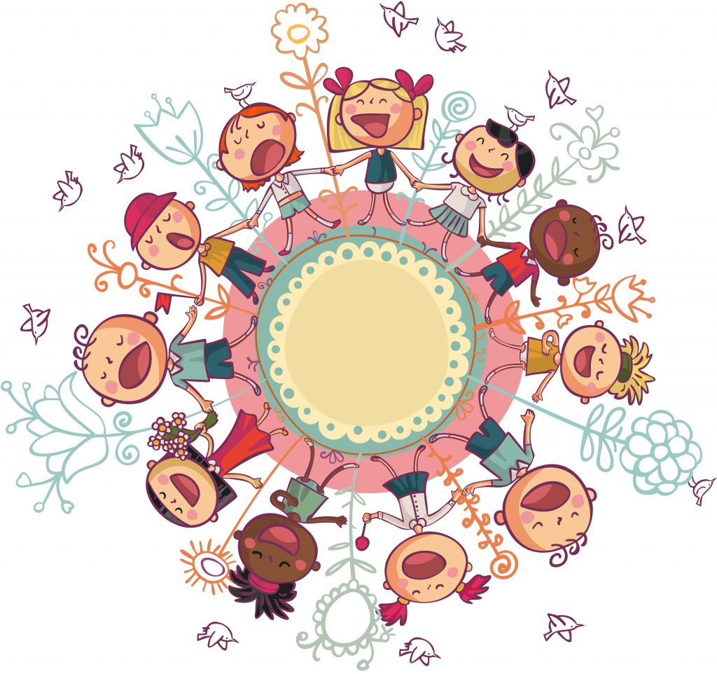 Niños de diferentes razas en círculo