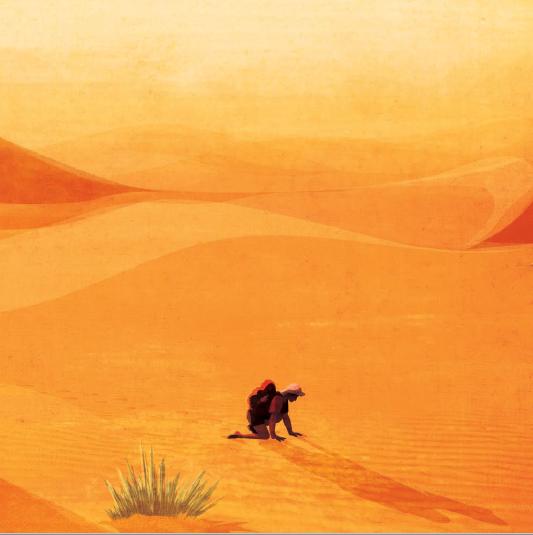 Imagen de una persona de rodillas en medio del desierto del libro Supervivientes
