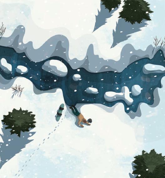 persona tirada en medio de la nieve del libro Supervivientes