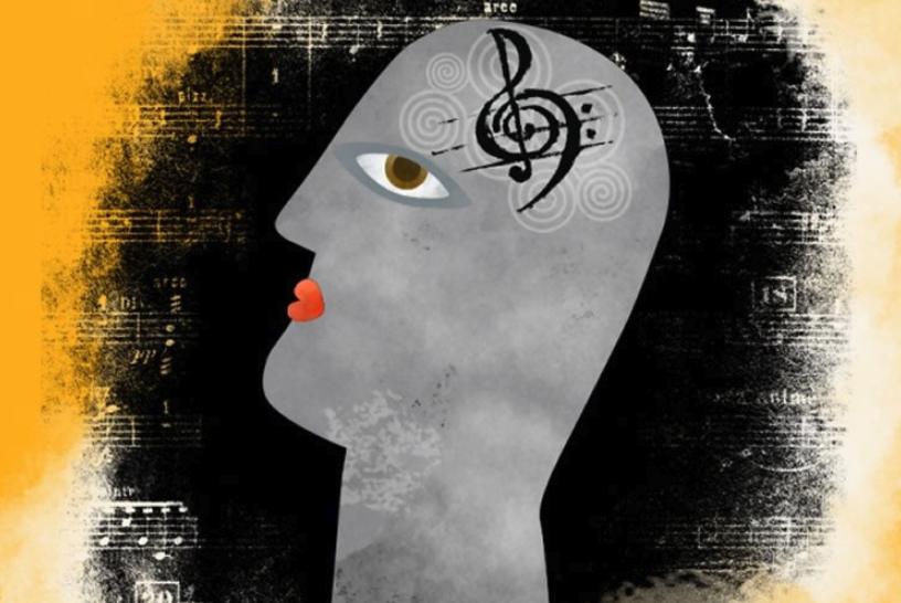 montaje con una cara y una clave de sol en el cerebro para música y creatividad