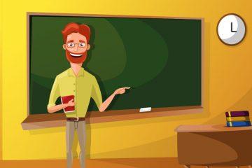 Vector de profesor en clase con pizarra para ilustrar consejos para docentes