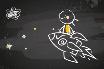 Dibujo infantil de un niño subido sobre un cohete que navega por el espacio para ilustrar la fascinación por el espacio