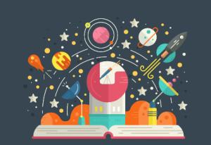 Infografia d'activitats relacionades amb l'espai per il·lustrar la fascinació per l'espai