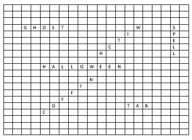 crucigrama con espacios para palabras de Halloween