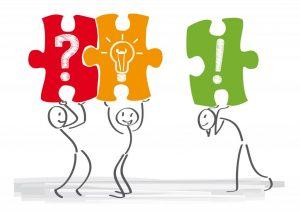 dibuix amb figures construint un puzle per ilustrar els beneficis educatius del puzle