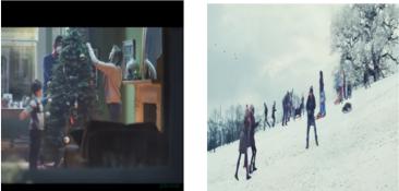 2 imágenes, niños patinando y familia con arbol de navidad para Christmas