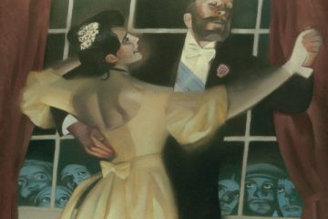 Ilustración del libro Madame Bovary donde se ve a Emma bailando con Charles Bovary