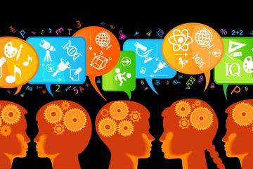 Infografía de alumnos pensando y hablando para representar el pensamiento crítico en el aula