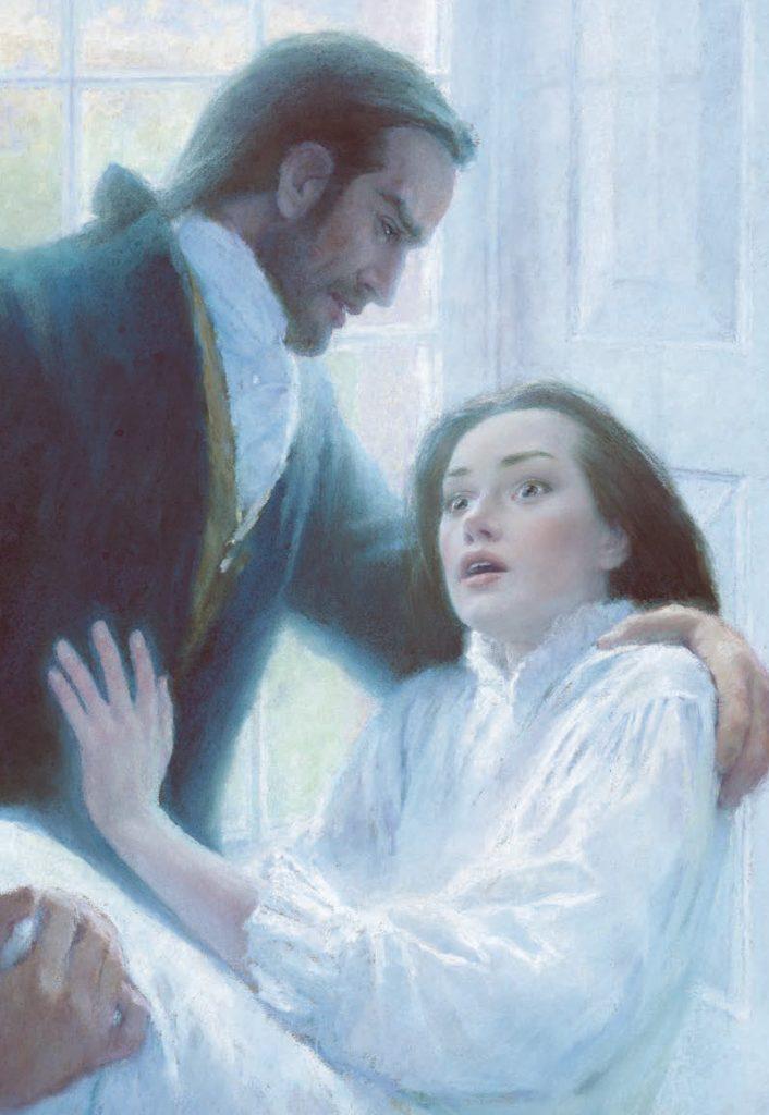 Ilustración de Catherine y Heathcliff abrazados en Cumbres borrascosas