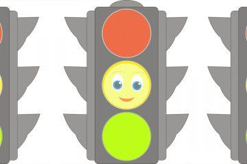 Tres semáforos con emociones según el color para Técnica del semáforo
