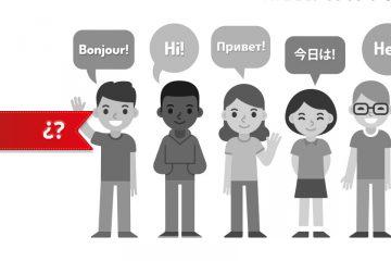 5 niños y niñas diciendo hola en diferentes idiomas para enseñar idiomas