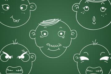 pissarra amb dibuixos de cares amb emocions per gestionar les emocions a l'aula
