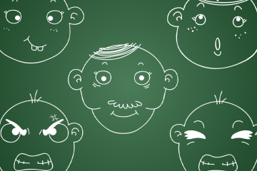 dibujo de pizarra con caras con emociones para gestionar emociones en el aula