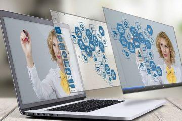 Portátil con profesora para ilustrar herramientas digitales para docentes durante la cuarentena