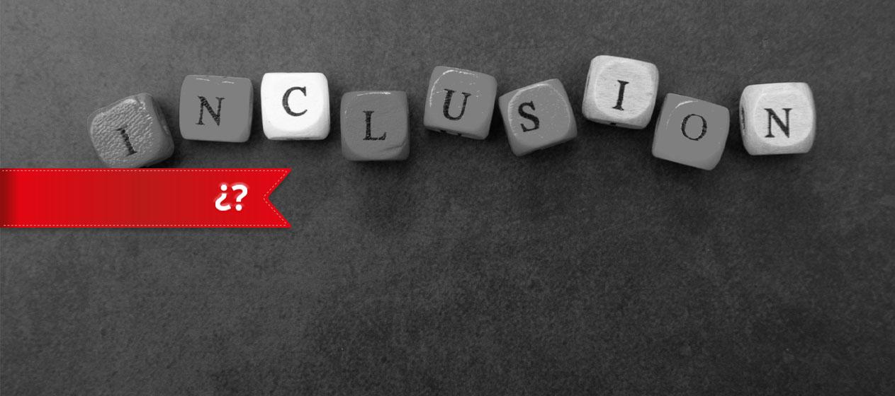 paraula inclusive creada amb daus de fusta amb lletres per a educació inclusiva real