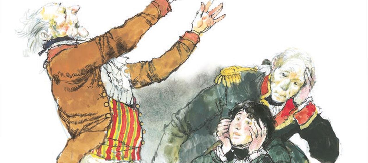 Ilustración de Trafalgar de Galdós editado por Vicens Vives