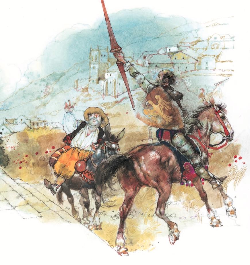 Don Quijote y Sancho ilustrados por Victor Ambrus