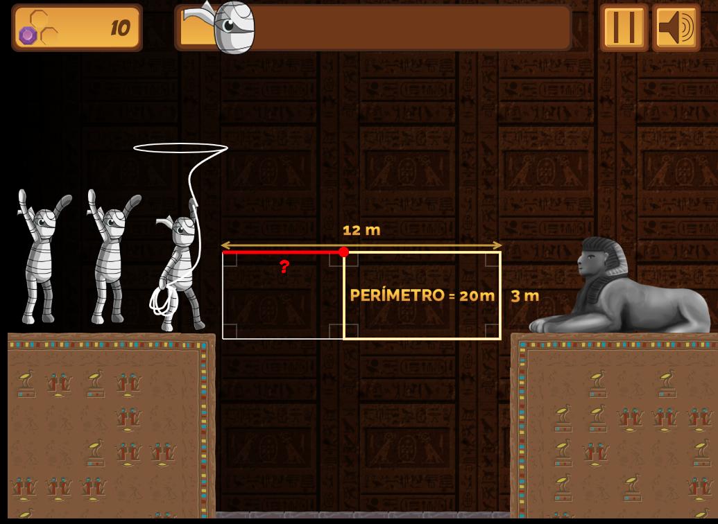 Imagen del juego Pyramid Panic para trabajar la geometría, dentro de la plataforma Mangahigh