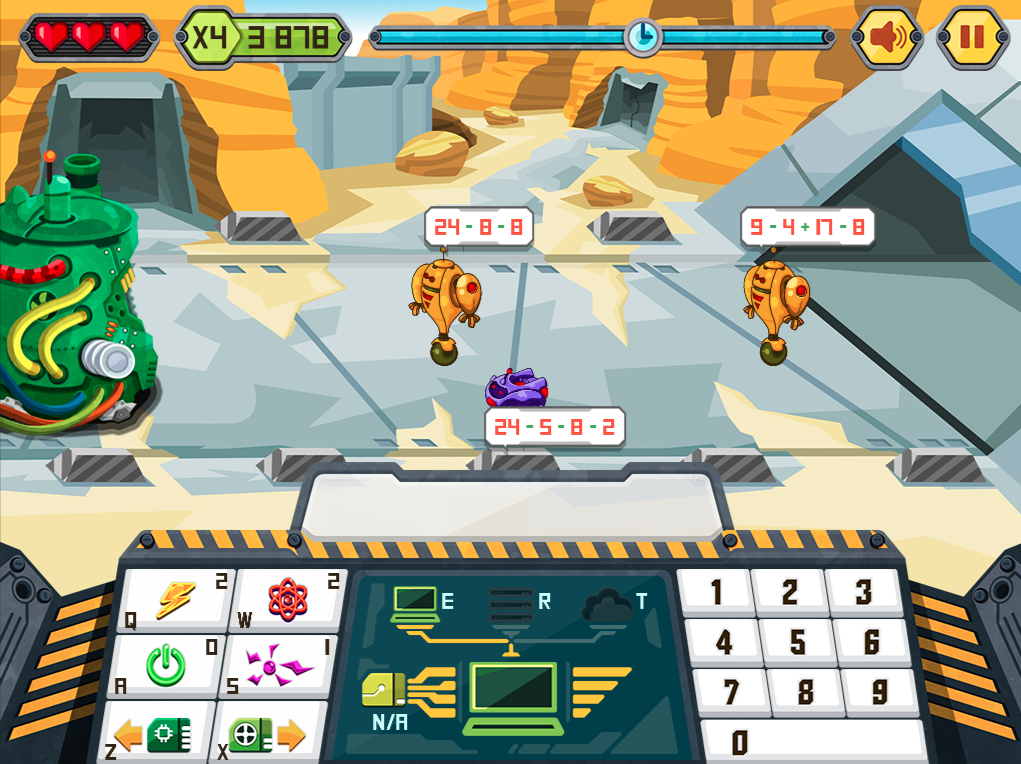 Imagen del juego RoboOps de cálculo mental, dentro de la plataforma Mangahigh
