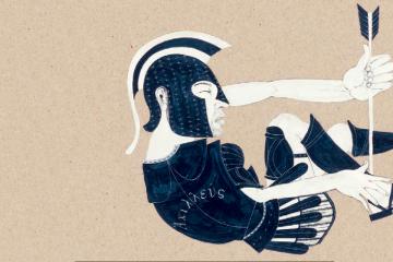 Aquiles herido para ilustrar la Ilíada y la Odisea
