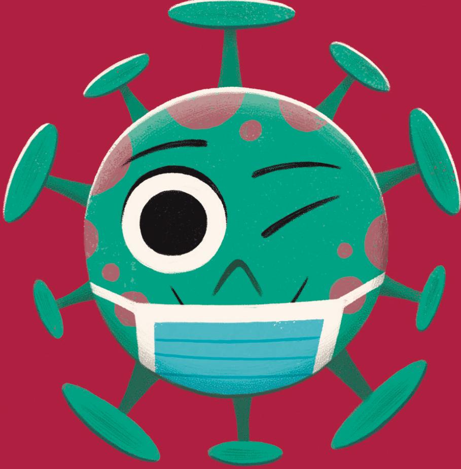 Tobías el Virus con mascarilla